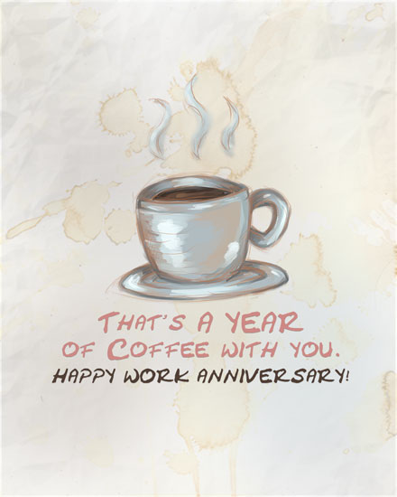 anniversary card cup of coffee