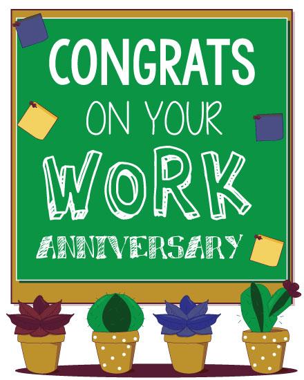 anniversary card succulents chalkboard