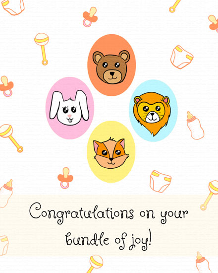 baby card 4 baby animals