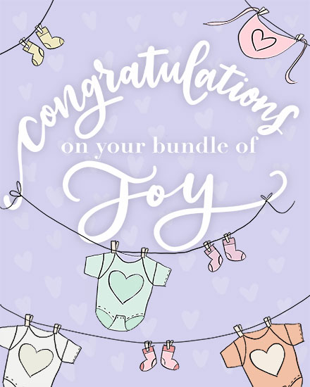 congratulations card baby clothes line