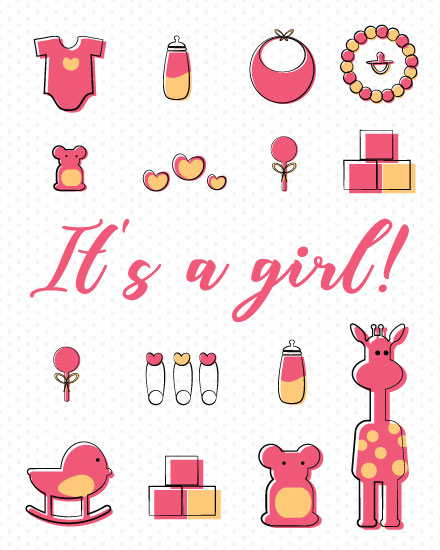 congratulations card baby girl items