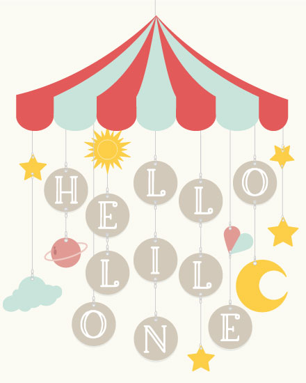 baby card hello lil one mobile