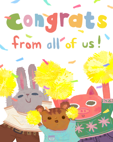 congratulations card animal cheer