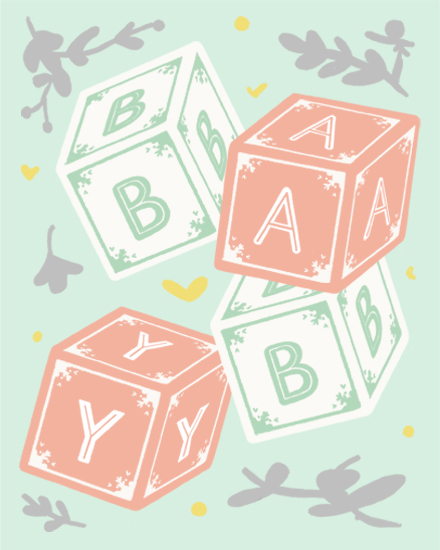 congratulations card baby blocks