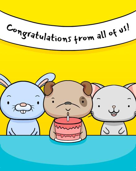 congratulations card cute creatures