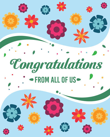 congratulations card flowers and leaves