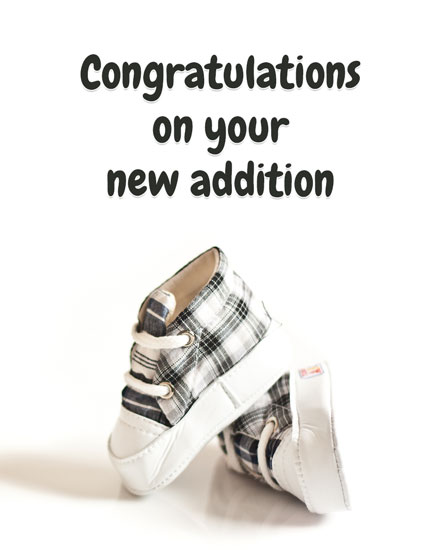 congratulations card baby plaid kicks shoes