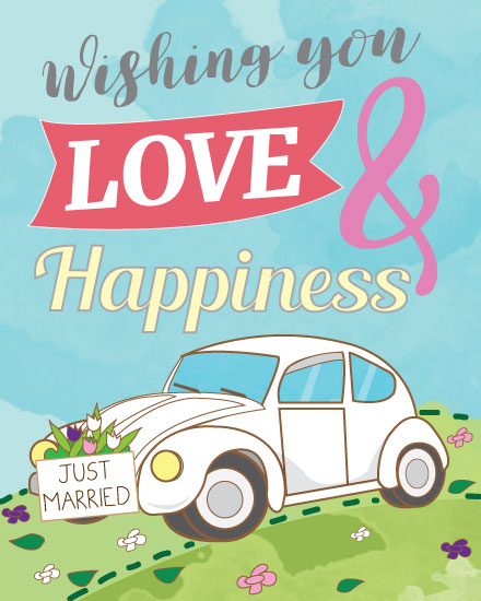 wedding card white wedding car just married