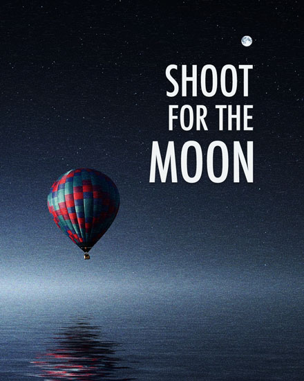 encouragement card hot air balloon moonlight