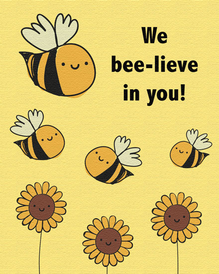 encouragement card we bee lieve in you