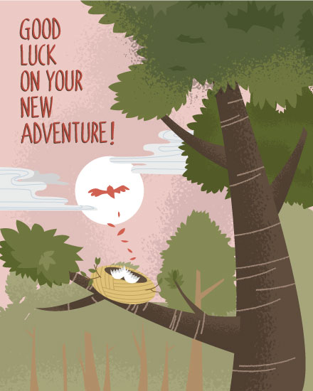 farewell card bird leaving nest on adventure