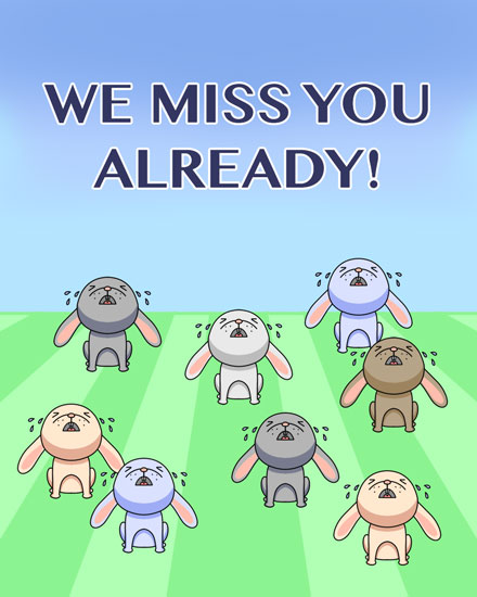 farewell card crying bunnies