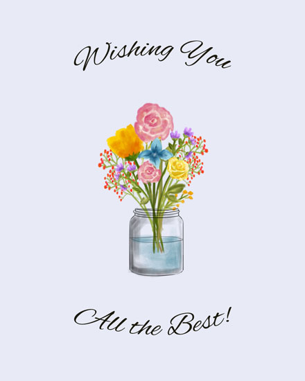 farewell card flowers in vase