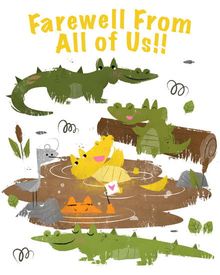 farewell card alligators