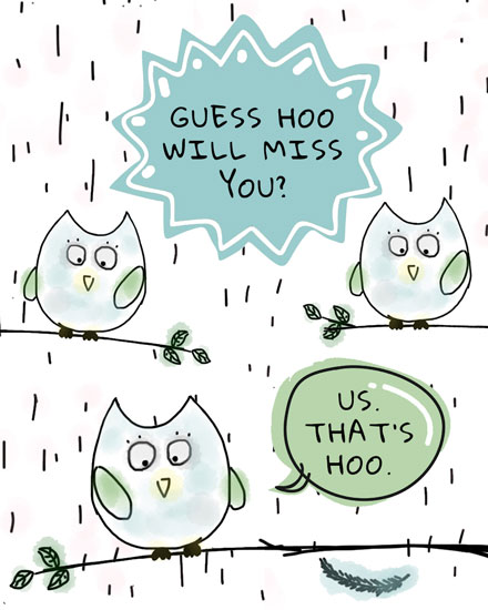 farewell card guess hoo owls