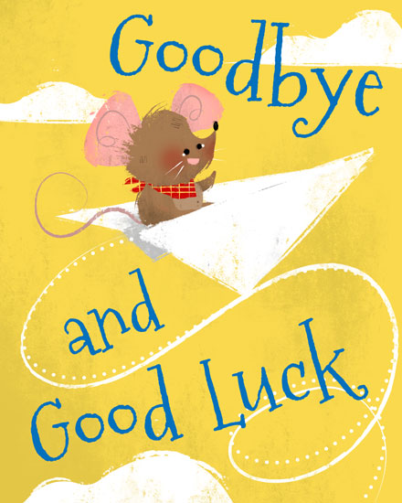 farewell card mouse paper airplane