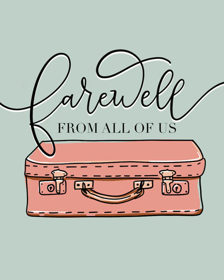 farewell card vintage suitcase