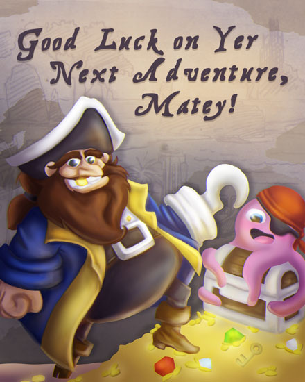 farewell card pirate octopus treasure good luck next adventure matey