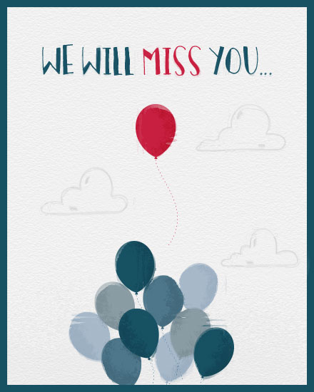 farewell card red balloon miss you