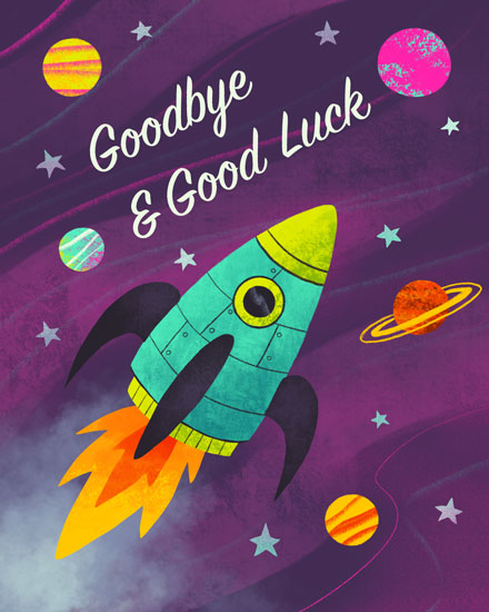 farewell card rocket ship