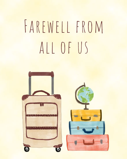 farewell card suitcases globe