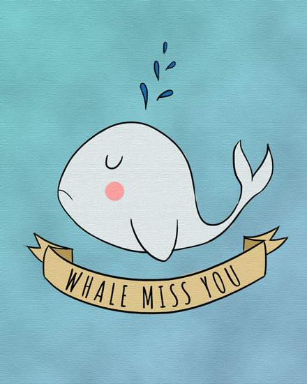 farewell card whale miss you