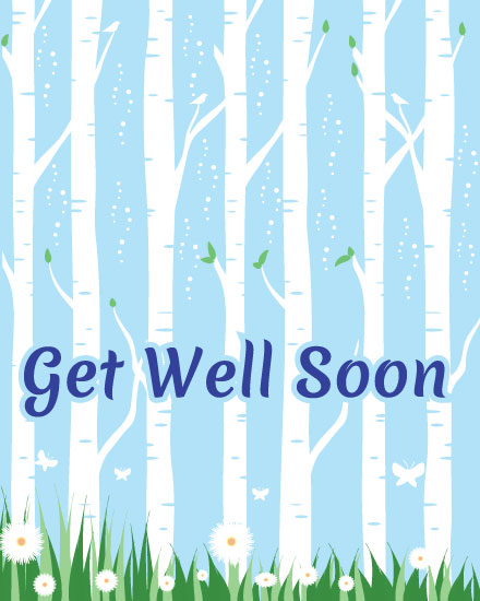 get well soon card birch trees forest
