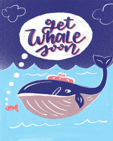 get well soon card get whale soon pun