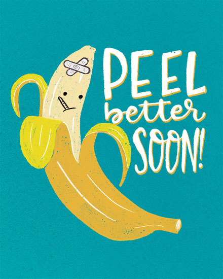get well soon card peel better banana pun