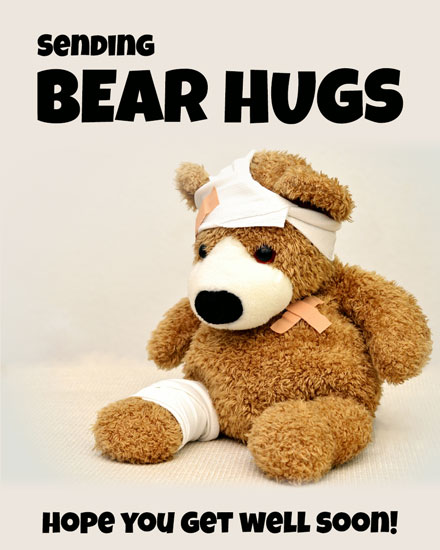 get well soon card teddy bear hugs