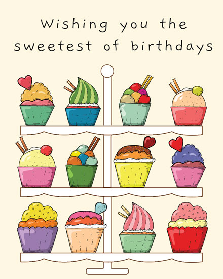 happy birthday card 3 tiered cupcake platter