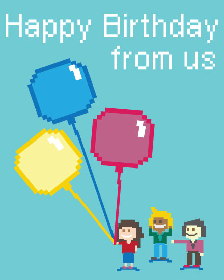 happy birthday card 8 bit birthday balloons