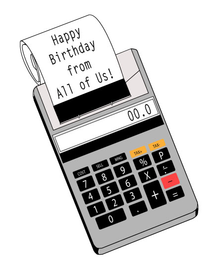 happy birthday card accountant calculator