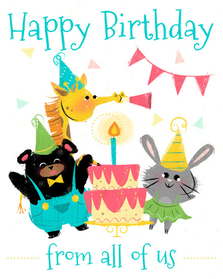 happy birthday card animal party