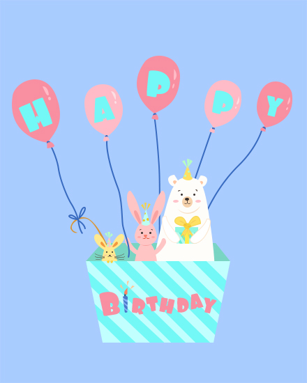 happy birthday card balloon basket