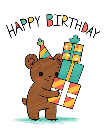 happy birthday card bear presents