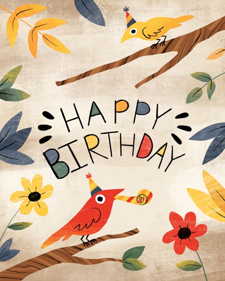 happy birthday card bird branches