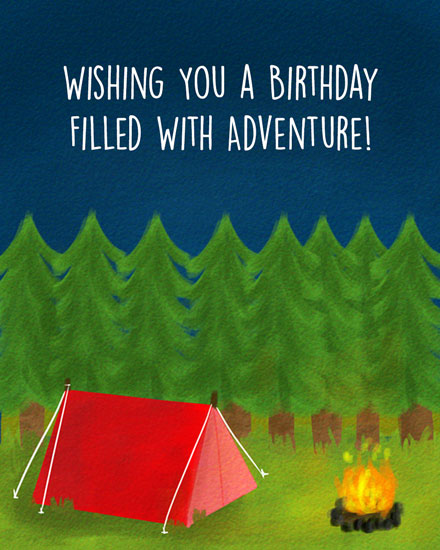 happy birthday card camping adventure