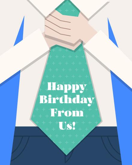 happy birthday card tie for him