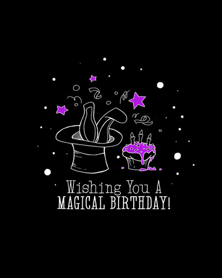happy birthday card magical bunny hiding in top hat