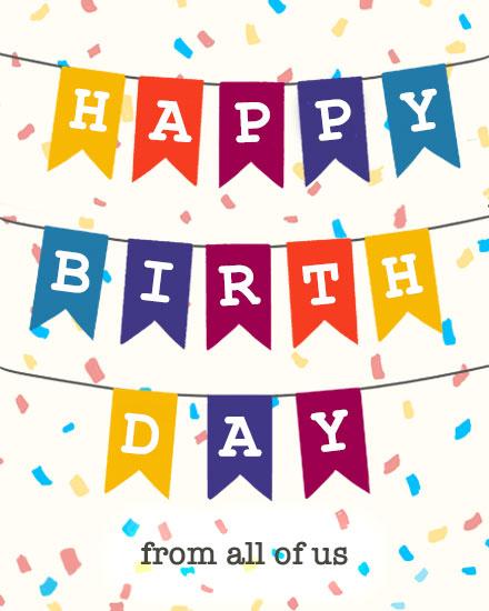happy birthday card bunting confetti