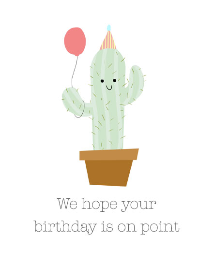 happy birthday card cactus holding balloon