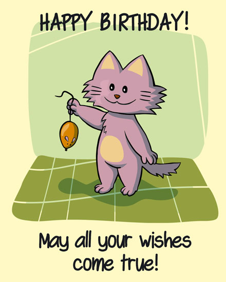 happy birthday card cat holding mouse