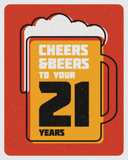 happy birthday card cheers beers 21 years old