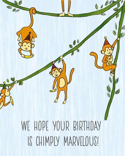 birthday card chimply marvelous monkeys