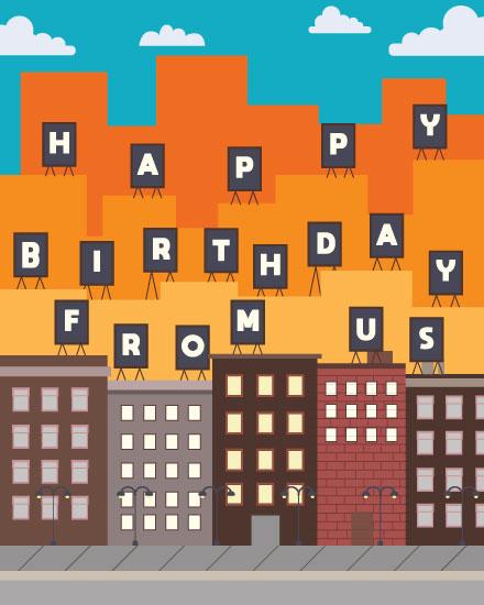 happy birthday card city building signs