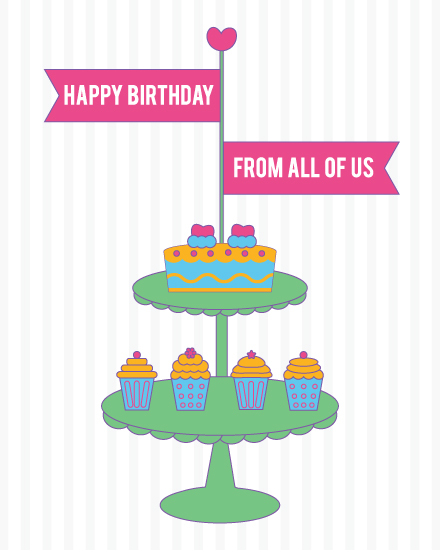 happy birthday card cupcakes tiered platter