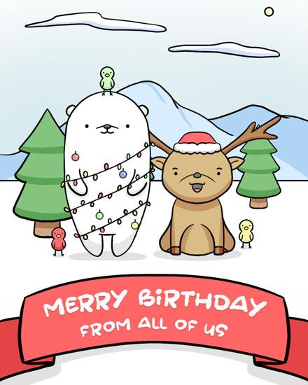 happy birthday card deer bear bird