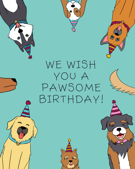 happy birthday card dogs wishing pawsome birthday pun