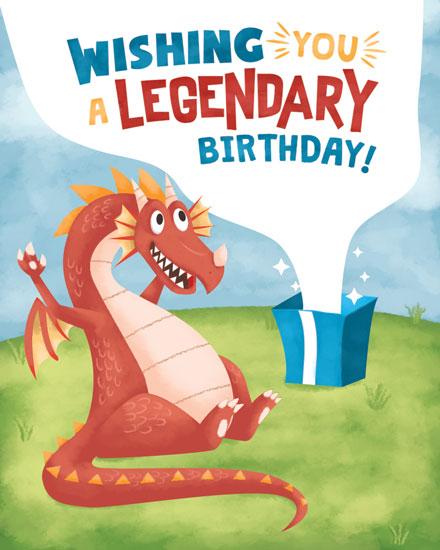 birthday card dragon legendary birthday